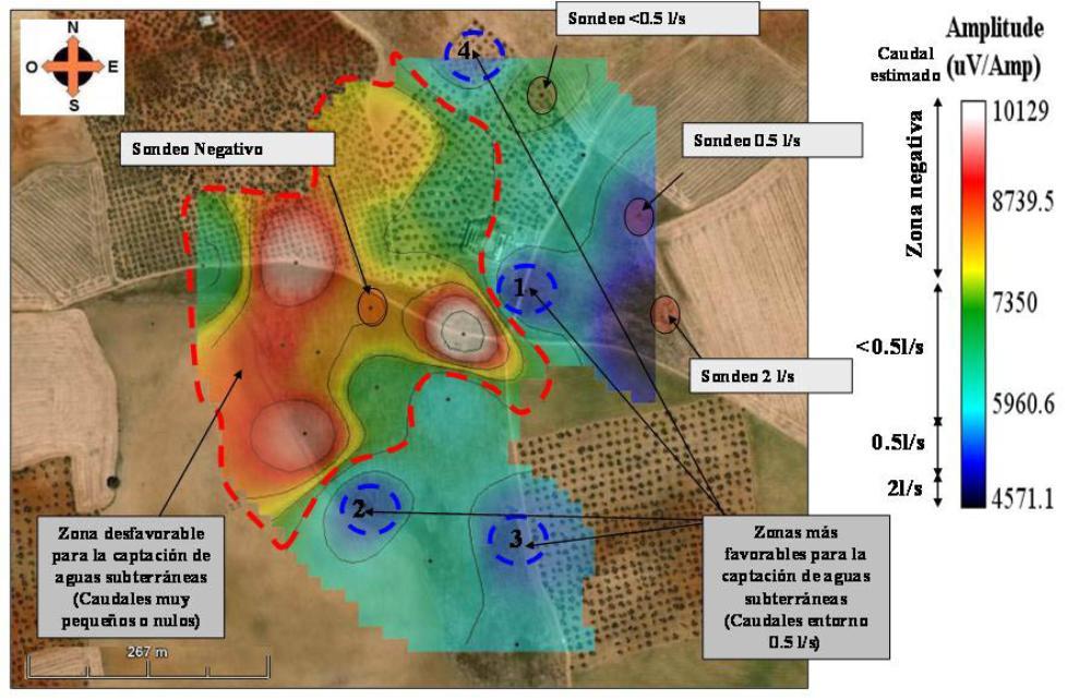 Buscar agua subterranea - Mapa de prospección Carmona (Sevilla)
